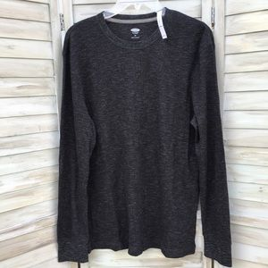 Old Navy Waffle Knit Crew Neck L/S Heather Gray M